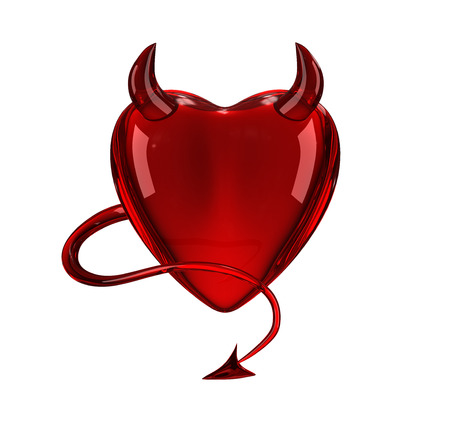 Glossy devil red heart with horns and tail