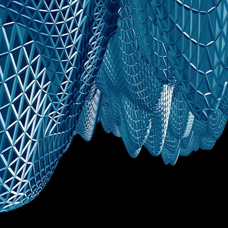Abstract 3D blue net cloth background isolated on black photo