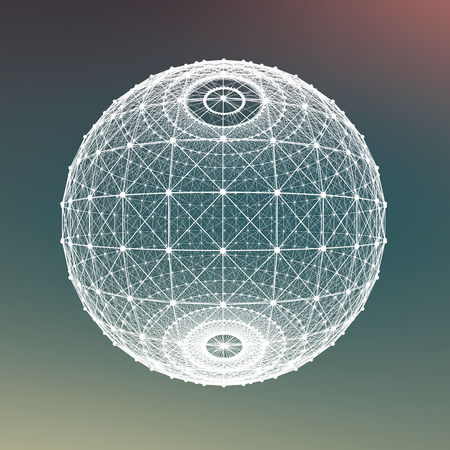 Fresh summer abstract sphere background. Connecting dots