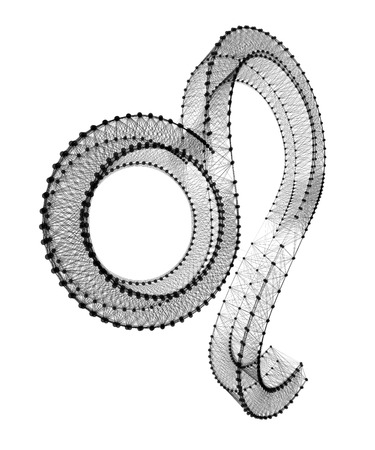 3d lion: Lion zodiac sign. 3D connected dots on white