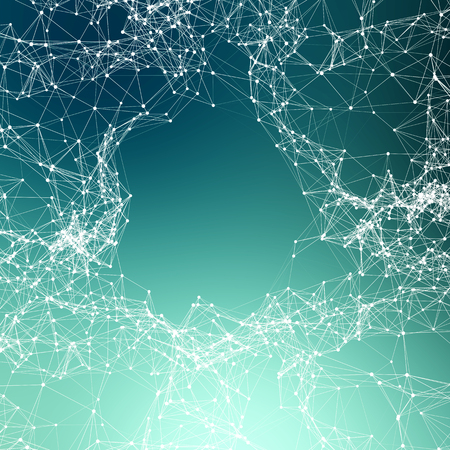 Deep green abstract background. Connecting dots Stock Photo