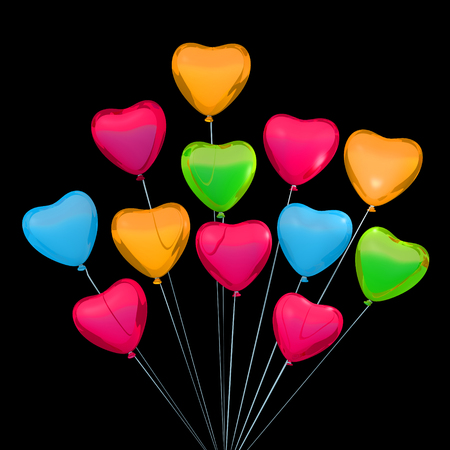 place for text: Valentine card with heart shape balloons. Place for text.
