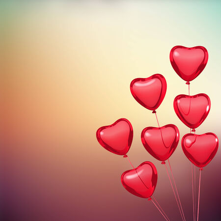 Valentine card with heart shape balloons. Place for text photo