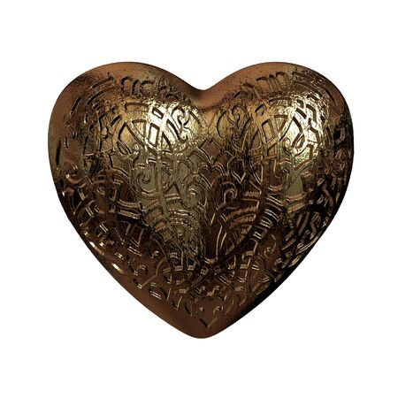 marriage night: 3D golden glossy ornament Valentines heart