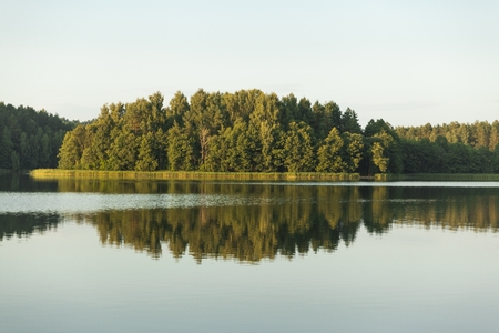 Landscape with trees and sky reflected in the lake