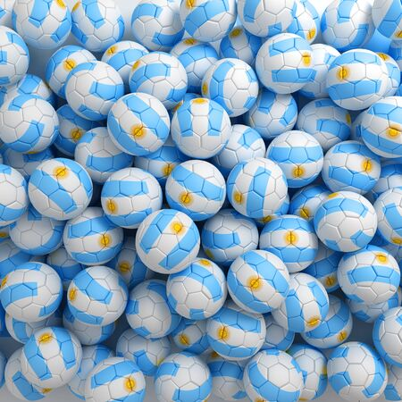 Argentina football balls (many). 3D render background