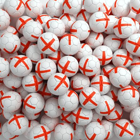 English football balls (many). 3D render background Imagens