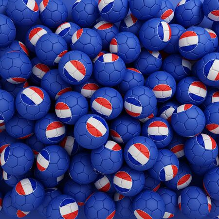 French football balls (many). 3D render background Imagens