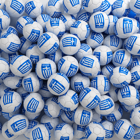 Greece football balls (many). 3D render background Imagens