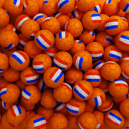 holand: Netherlands football balls (many). 3D render background Stock Photo