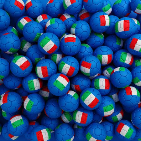 Italy football balls (many). 3D render background Imagens
