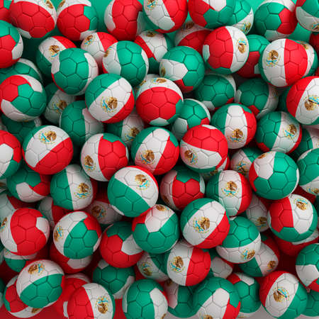 Mexico football balls (many). 3D render background