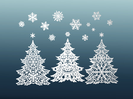 Paper Christmas trees and snowflakes photo