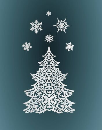 Paper Christmas tree and snowflakes