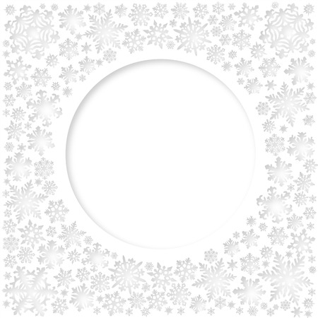 Christmas white snowflakes vector card (circle space for text) Ilustração