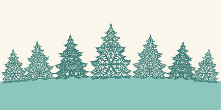 snow scenes: Green paper Christmas trees decoration