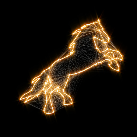 Magic shiny golden horse. Connected dots Imagens