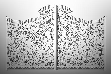 Hermoso adorno de hierro puertas Vectores