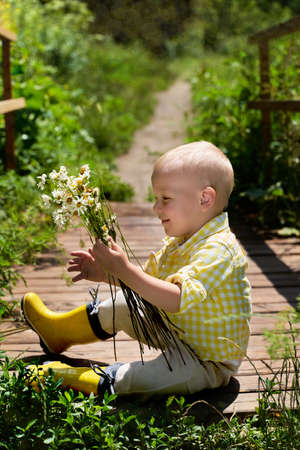 a funny little boy is sitting on the bridge with daisies. summer 版權商用圖片
