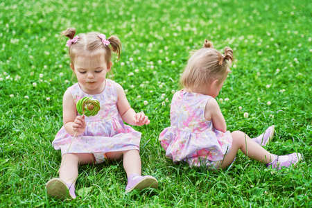 two little twin girls did not share the candy