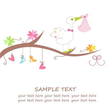 Baby Ankunft Karte mit Herz Blume Kleidung und Storch Gruß Standard-Bild - 32412410