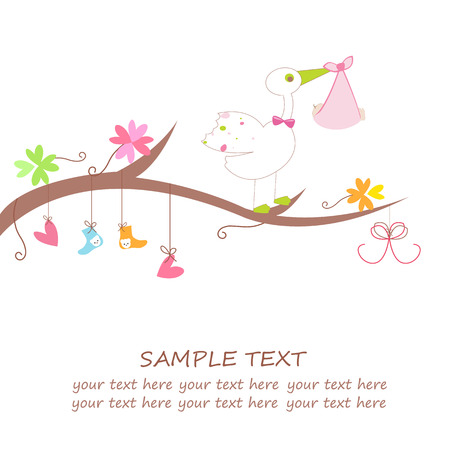 baby arrival card with hearts flower clothes and stork greeting