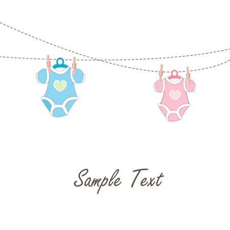 Baby card hanging baby clothing icons Vector