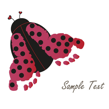 Baby footprint with ladybug vector greeting card Vector