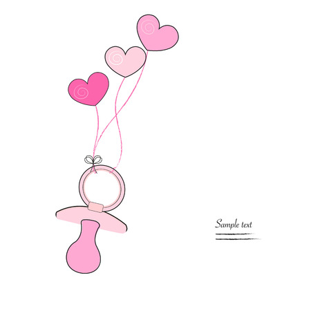 Baby girl soother and hearts greeting card