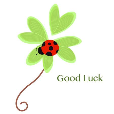 Good Luck Grußkarte mit Klee und Marienkäfer Vektor