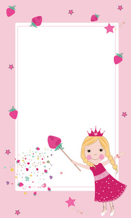 Cute strawberry fairy frame vector  イラスト・ベクター素材