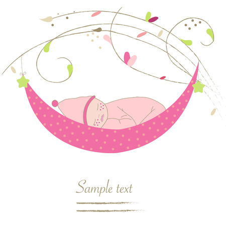 Newborn baby cradle greeting card vector