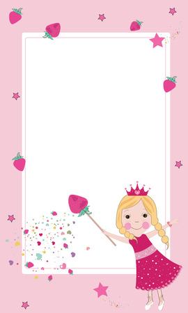 Cute strawberry fairy frame vector Vector
