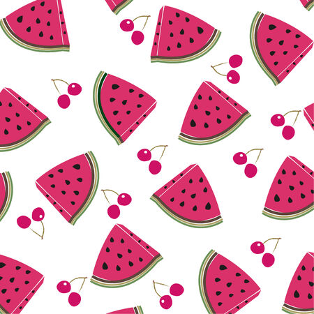 Cherry and watermelon vector pattern Иллюстрация