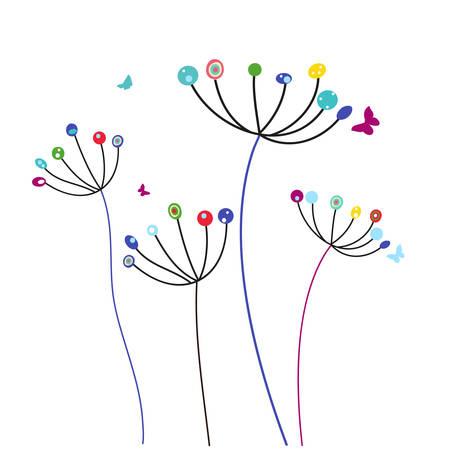 Kleurrijke paardenbloem bloemen en vlinders vector