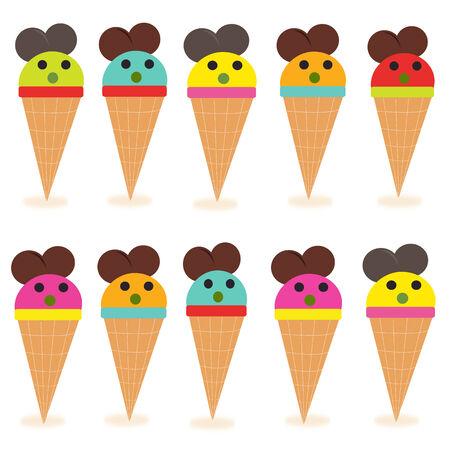 Funny ice creams vector Stock Vector - 33147020