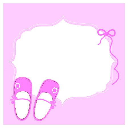 Baby greeting card with lilac shoes Zdjęcie Seryjne - 33147029