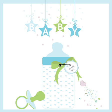Baby boy bottle and soother vector greeting card