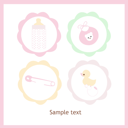Pastel coloured baby girl icon set vector greeting card Ilustrace