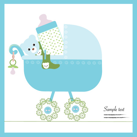 baby boy announcement: Baby boy stroller with bottle, soother, socks vector
