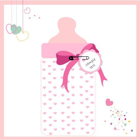 mamma: Baby girl bottle vector greeting card