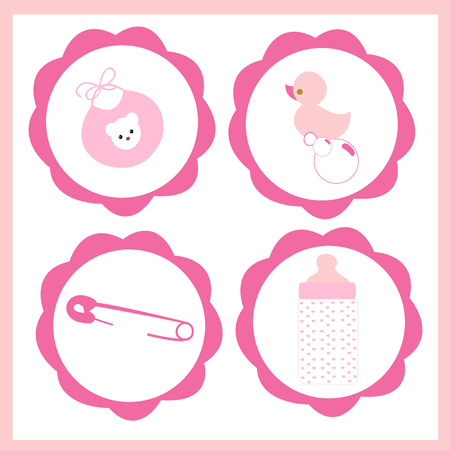 Baby girl icon set vector greeting card Ilustrace