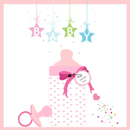 Baby girl bottle and soother vector greeting card Vector