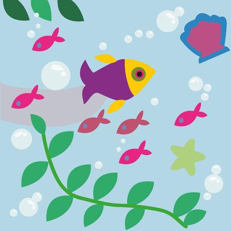 fishtank: Fish in the sea Illustration
