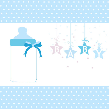 mamma: Baby boy greeting card hanging stars and bottle background