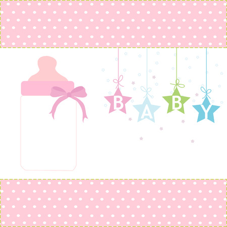 Baby girl greeting card hanging stars and bottle background royalty baby girl greeting card hanging stars and bottle background stock vector 34501209 m4hsunfo
