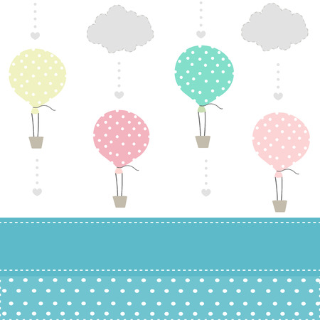 simple girl: Balloon and clouds baby pattern background vector Illustration