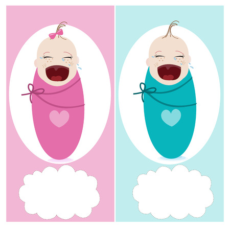 boy girl: Crying baby with baby, boy, girl vector greeting card Illustration