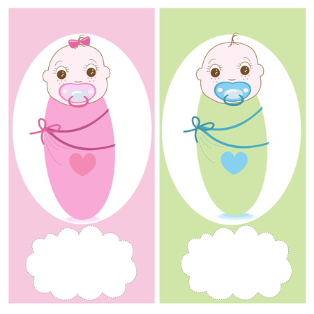 swaddle: Swaddle baby with baby soother, boy, girl vector greeting card