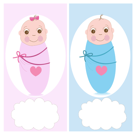 boy girl: Swaddle baby, boy, girl vector greeting card